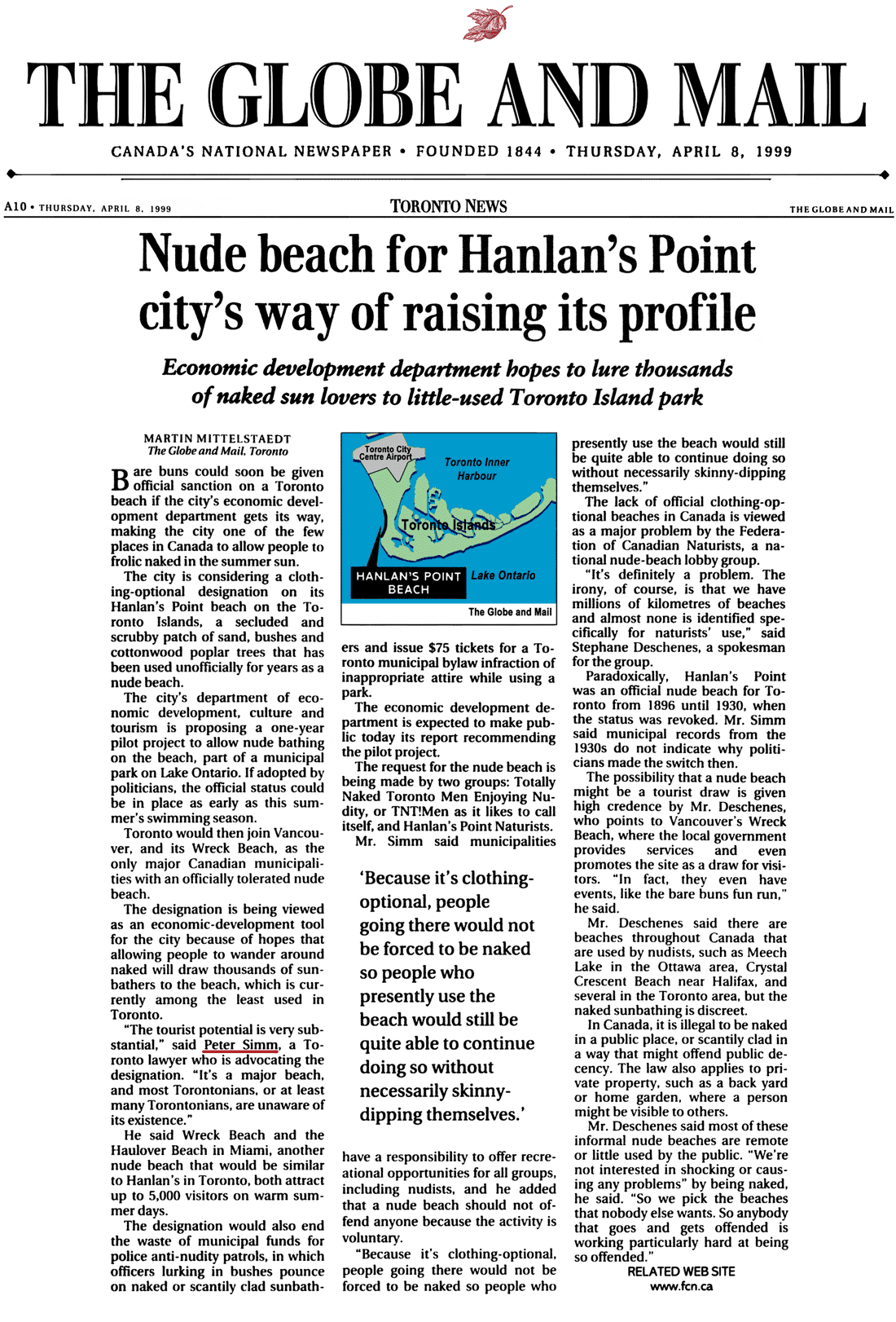 Globe & Mail 1999-04-08 - City staff adopt Simm's proposal for CO-zone at Hanlan's Point